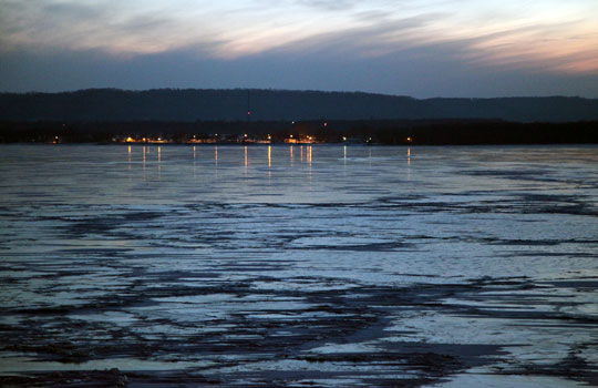 Lake City lights on frozen Lake Pepin.