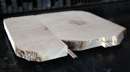 Joining sections of an end grain wood block.